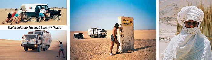 """1. """"Plnou parou"""" přes písečné pasti 2. Osamocený milník v nekonečné pustině 3. Rytíři pouště Tuaregové"""